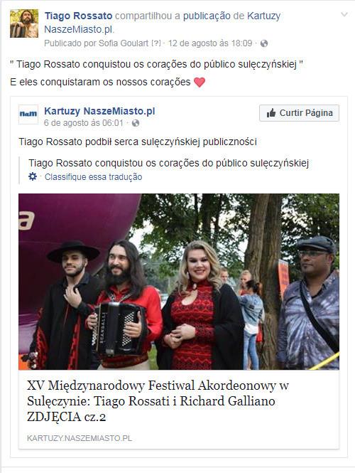 Tiago Rossato conquistou os corações do público de Suleczyno