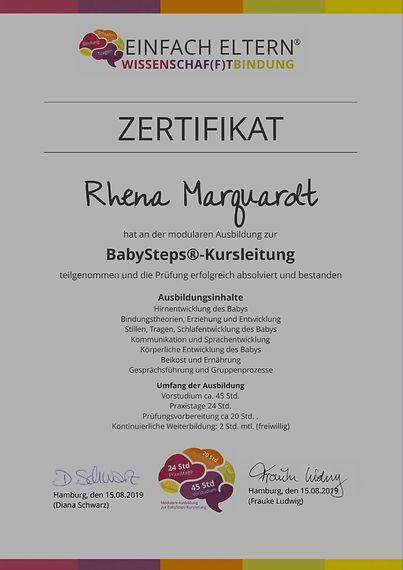 Zertifikat zur bestandenen Prüfung Baby-Steps von Rhena