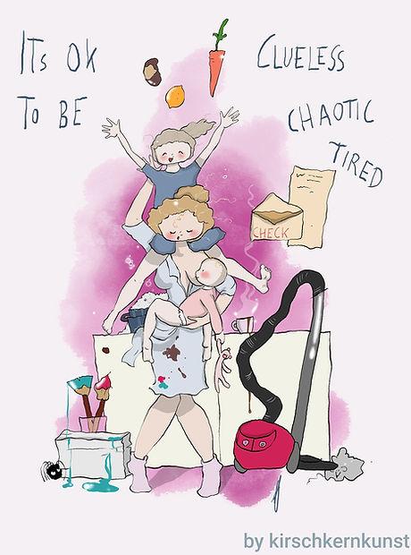 Foto einer Mutter mit vielen Aufgaben. Baby auf dem Arm, Flecken, Wäscheberge, Staubsauger. Mental Load