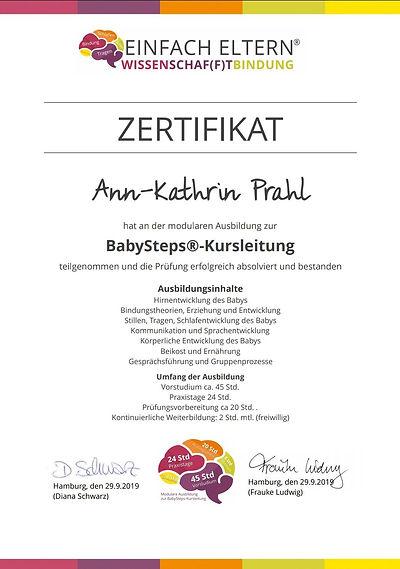 Zertifikat zur bestandenen Prüfung Baby-Steps von Ann-Kathrin