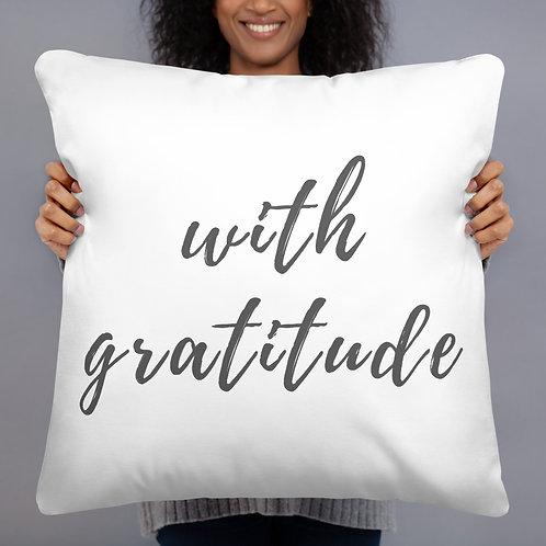 With Gratitude Throw Pillow (grey)