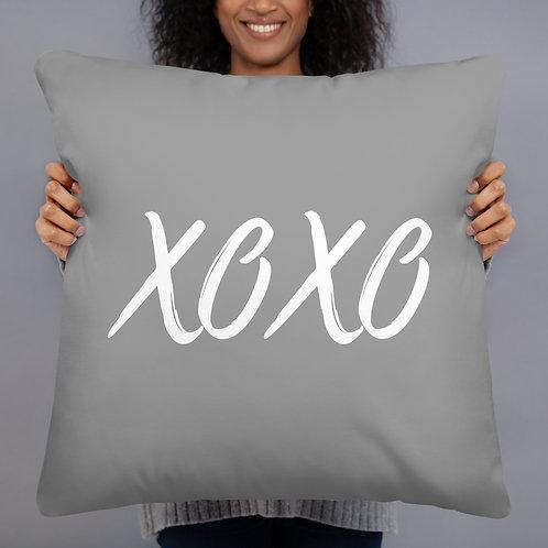 XOXO Throw Pillow (grey w/white font)