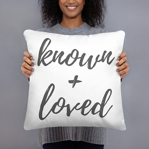 Known + Loved Throw Pillow (grey)
