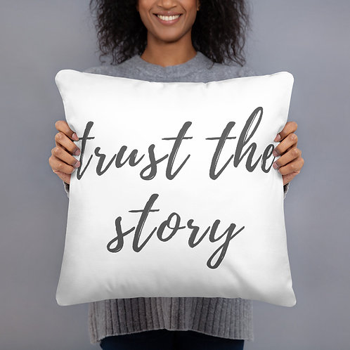 Trust The Story Throw Pillow (grey)