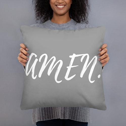 Amen Throw Pillow (grey w/white font)