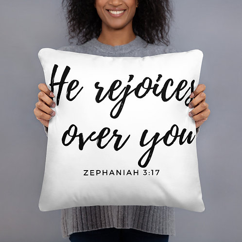 He Rejoices Over You Throw Pillow