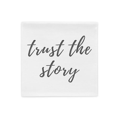 Trust The Story Pillow Case (grey font)