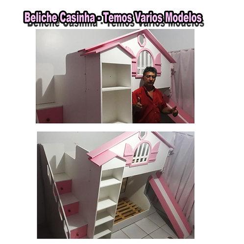 1007  - Cama Casinha Chalezinho detalhe Rosa
