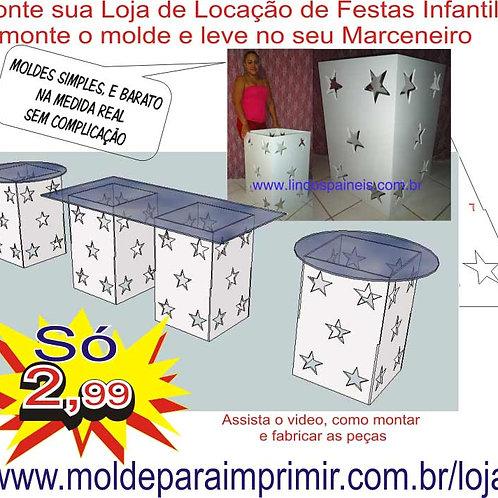 0044 - Mesa Cubo Estrela Provençal em MDF Molde para imprimir