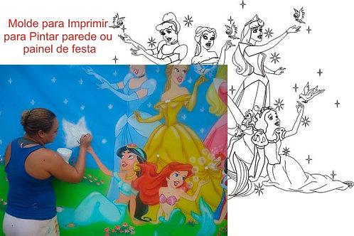 0011 - Painel 6 Princesas Molde para imprimir