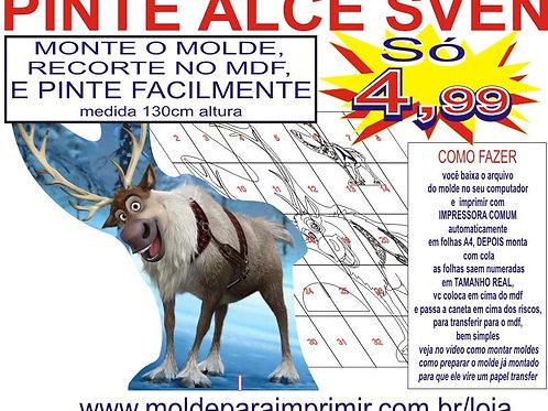 0047 - Alce Sven Totem display em MDF Molde para imprimir