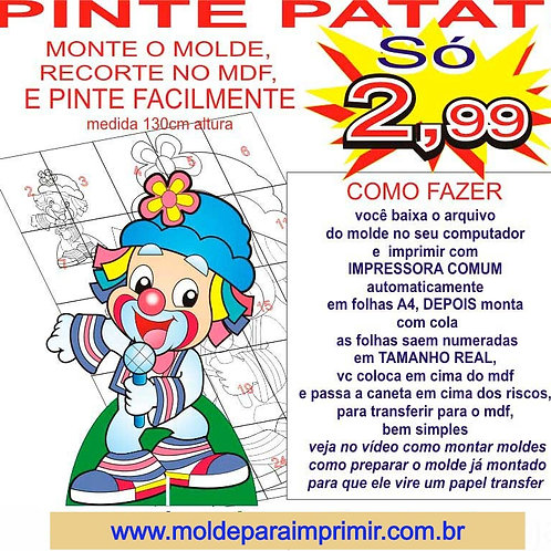 0052 - Patati peça de chão Totem em MDF Molde para imprimir