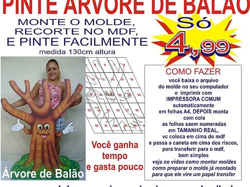 0061 - Árvore de Balão Rostinho Feliz  Molde para imprimir