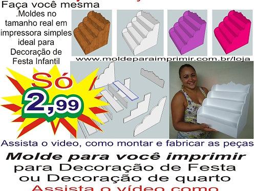 0043 - Escadinha Cupcake Provençal em MDF Molde para imprimir