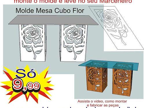 0057 - Mesa Cubo Rosa Provençal em MDF Molde para imprimir