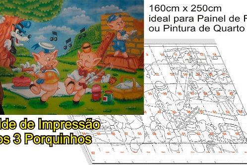 0021 - Painel Três Porquinhos Molde para imprimir