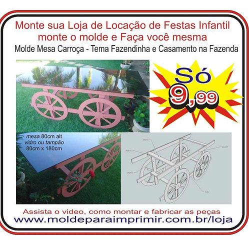 0066 - Mesa Carroça Decoração de Festas Molde para imprimir
