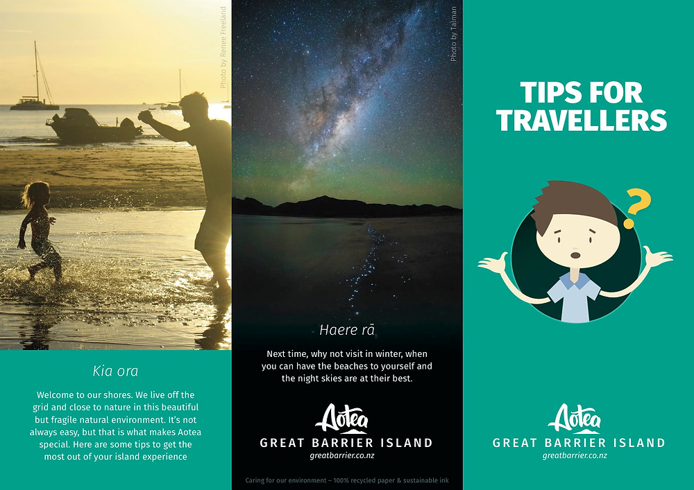Tips for travellers brochure by Aotea Great Barrier Island.