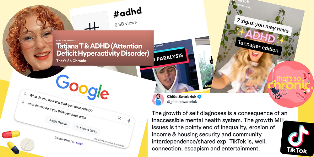 """collage of screenshots including #adhdtiktok, tiktoks about ADHD, googling """"what do you do if you think you have ADHD?"""" and a tweet from Chloe Swarbrick"""