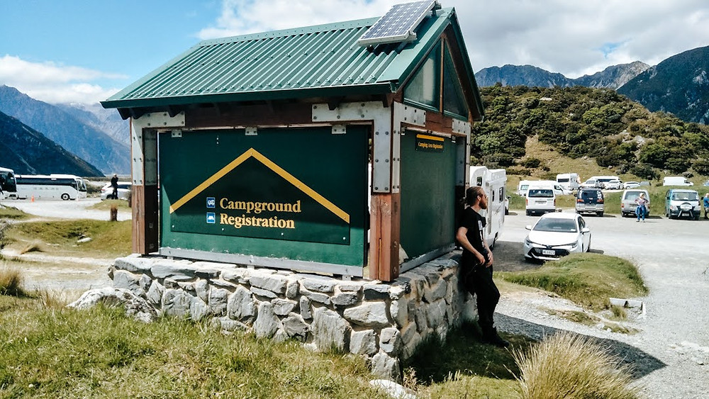 White horse hill campground at Aoraki/Mt Cook campground registration hut