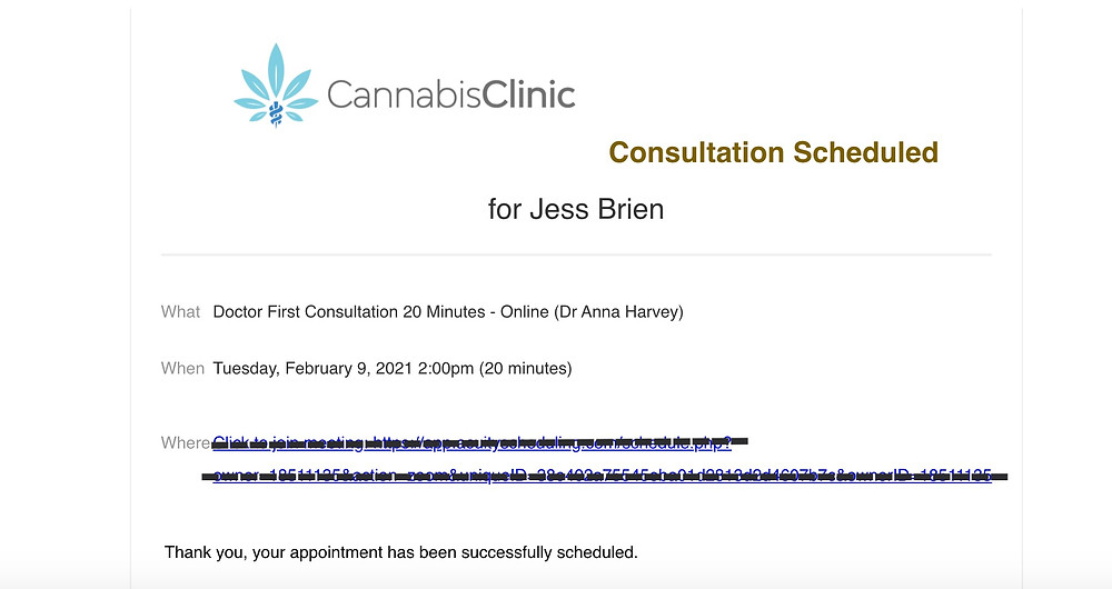 Screenshot of email confirmation of appointment on Zoom with Dr Anna Harvey from The Cannabis Clinic