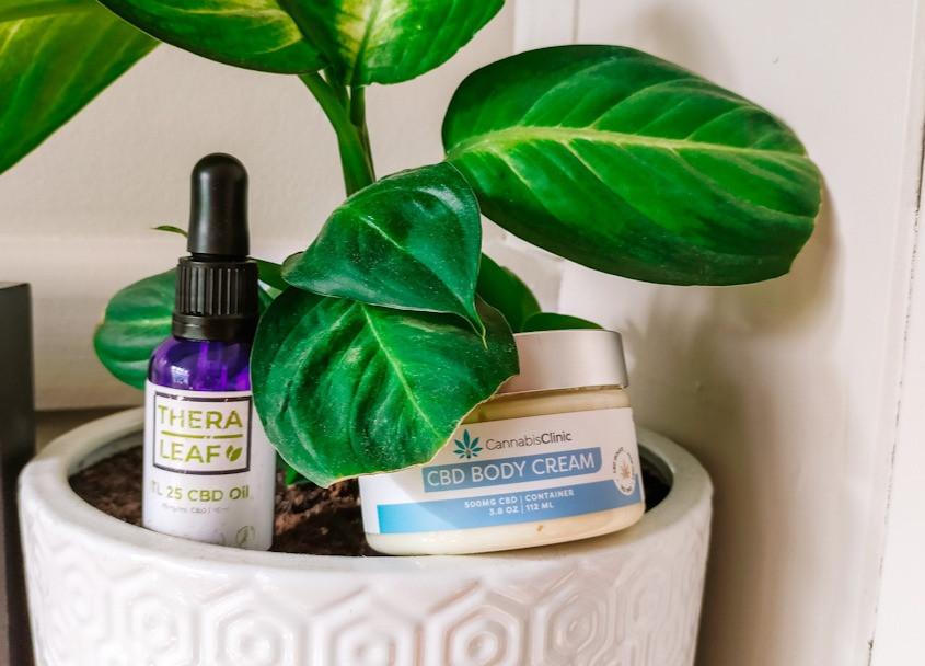 TheraLead CBD oil and Cannabis Clinic CBD Body Cream sit inside a pot plant