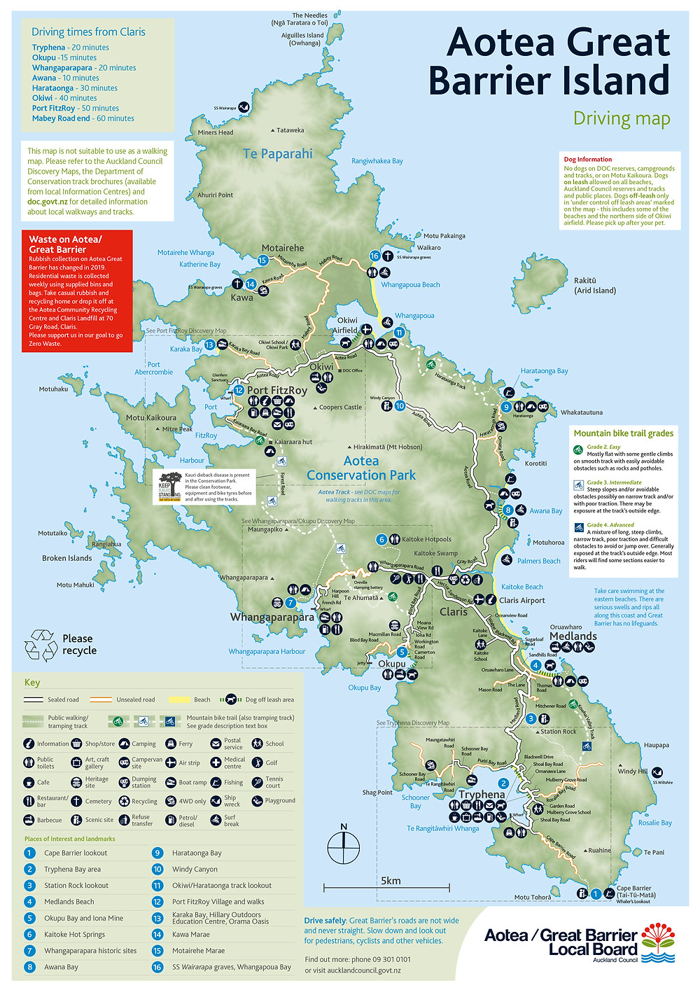 A coloured driving map of Aotea/Great Barrier Island