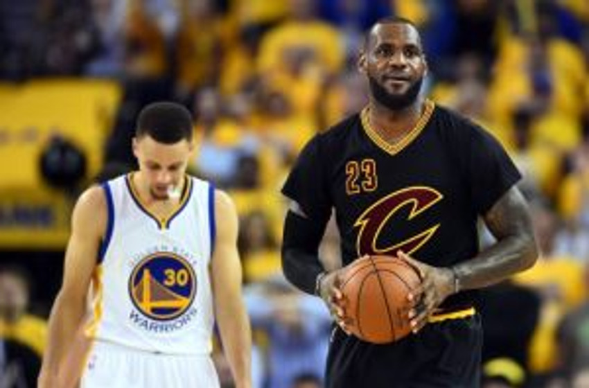 Jun 13, 2016; Oakland, CA, USA; Cleveland Cavaliers forward LeBron James (23) and Golden State Warriors guard Stephen Curry (30) during the third quarter in game five of the NBA Finals at Oracle Arena. Mandatory Credit: Bob Donnan-USA TODAY Sports