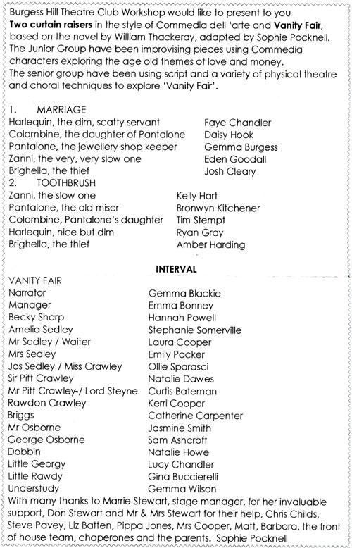 Vanity Fair programme