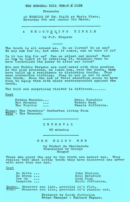 The Blind Men programme