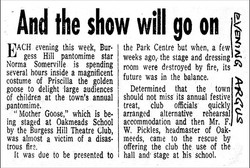 history 1968 fire & promoting Mother Goose