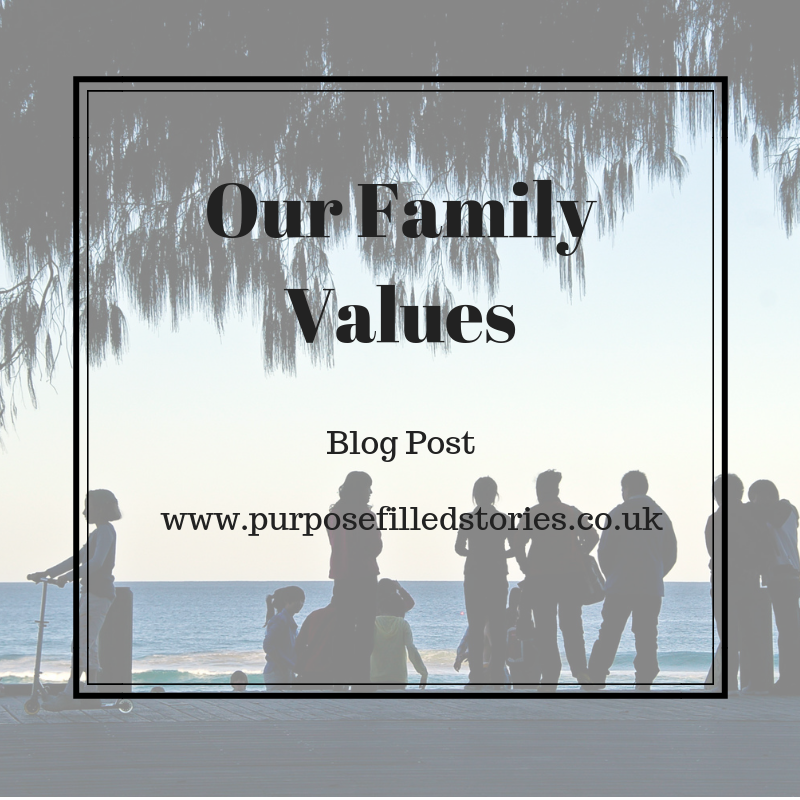Title Page for Our Family Values. Text written in black surrounded by black square border and background is faded photo of a family in silhouettes on a beach.