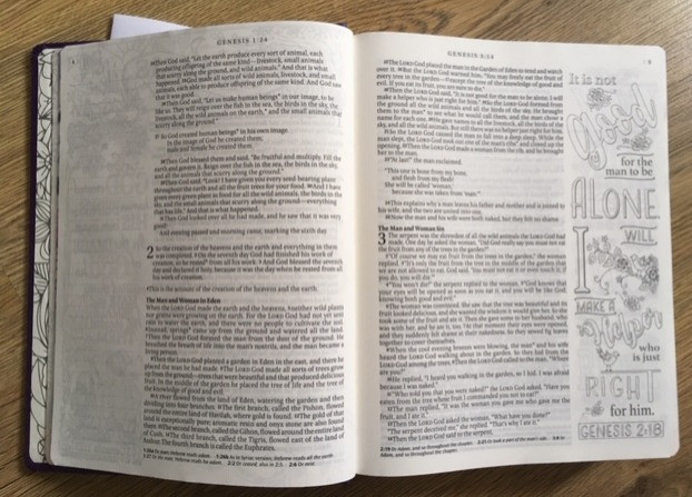 Photograph of Inside the journal bible, one page scripture art and other blank margin.