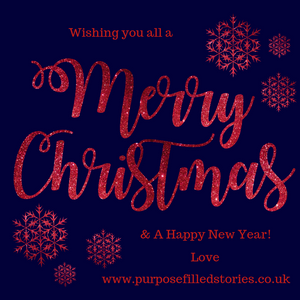 Navy background, glitter red writing 'wishing you all a merry Christmas and a happy new year love www.purposefilledstories.co.uk'
