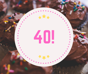 Background chocolate cupcakes with sprinkles, white circle with pink dotty border, 3 yellow stars at the top and bottom, 40 large in pink font in the centre