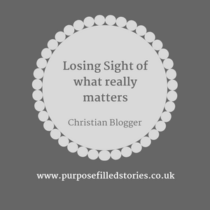 Title Graphics. Dark grey background, light grey circle, mid grey coloured writing in light grey circle saying 'Losing sight of what really matters' 'Christian Blogger' Underneath circle, web address written.
