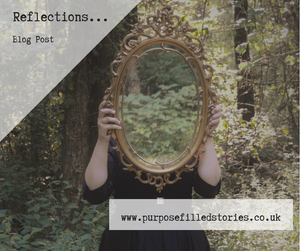 Woman in forest wearing a black dress holding up a mirror in front of her head. White faded triangle in top left corner saying 'Reflections... Blog Post' white oblong box in lower right corner saying 'www.purposefilledstories.co.uk'