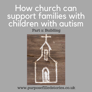 Light grey background, central picture painted white church, white text title 'how church can support families with children with autism Part 2: building' below black text www.purposefilledstories.co.uk