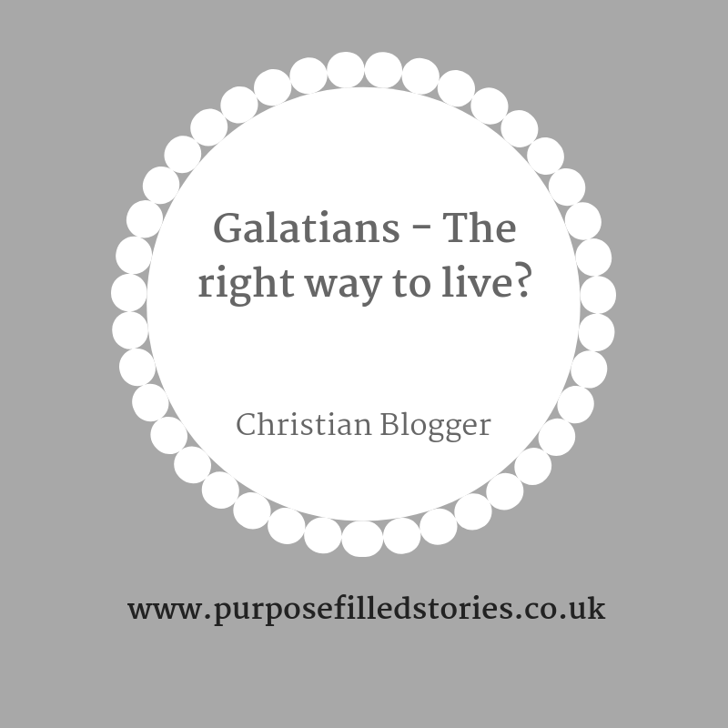 Title Graphic, background dark grey, inset silhouette white dandelion inside written in dark grey font  - Galatians - the right way to live? Christian Blogger