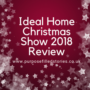 Dark red background, white stars bordering the sides and bottom, title centre in white reads Ideal Home Christmas Show 2018 review, website address underneath