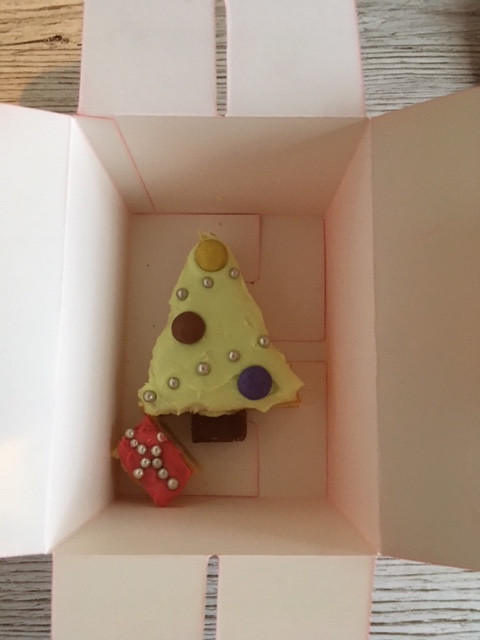 Christmas Tree and small present cake in an open cake box