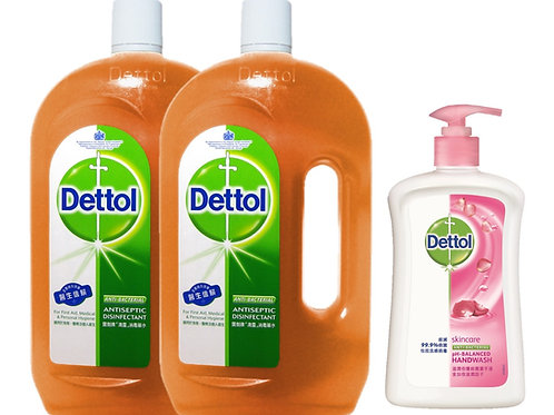 Dettol Antiseptic Liquid 1.2L Twin Pack + Anti-Bacterial Hand Wash Skincare