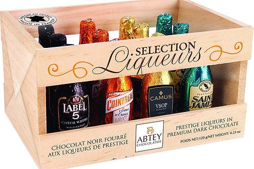 """Abtey Wooden Crate """"LIQUEURS DE SELECTION"""" 12 assorted liqueur bottles - 155g"""