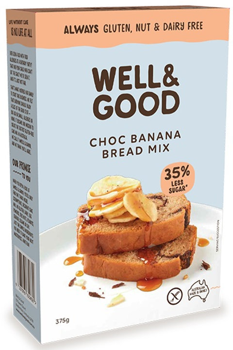 Well & Good Allergy free reduced sugar choc banana swirl cake mix (375g)