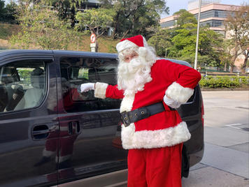 Santa on the way to home visits