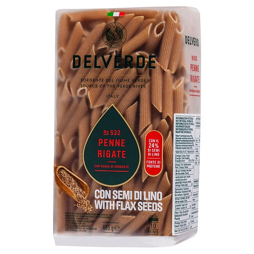 Delverde Penne Rigate with Flaxseeds No.532 - 450g