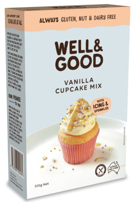 Well & Good Allergy free Cup cake mix with Vanilla icing and sprinkles (510g)