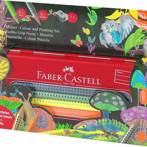 Faber Castell Jumbo Grip Colour set Neon & Metallic in a tin, 11 pieces