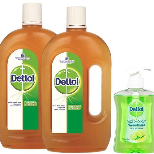 Dettol Antiseptic Liquid 1L TP + HW Lime 250ml