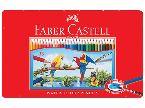 Faber Castell Water Soluble Colour Pencils Tin Box/36